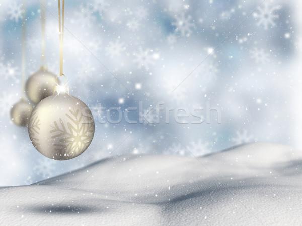 Weihnachten Spielerei hängen Schnee Sterne Lichter Stock foto © kjpargeter