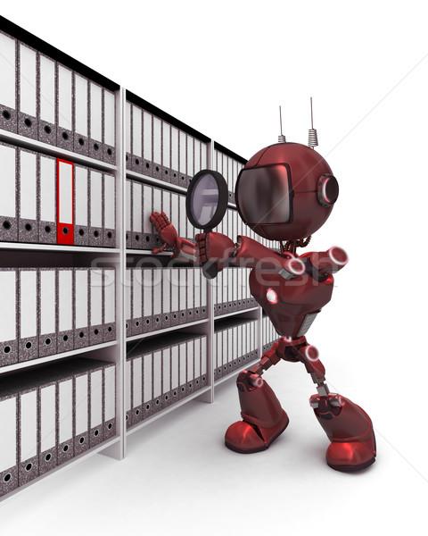 Android поиск документы 3d визуализации служба робота Сток-фото © kjpargeter