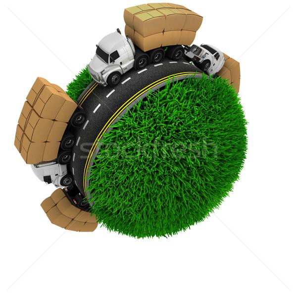 Route autour herbeux monde rendu 3d herbe Photo stock © kjpargeter
