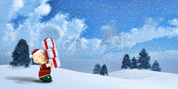 Cute elf winter landschap 3d render Stockfoto © kjpargeter