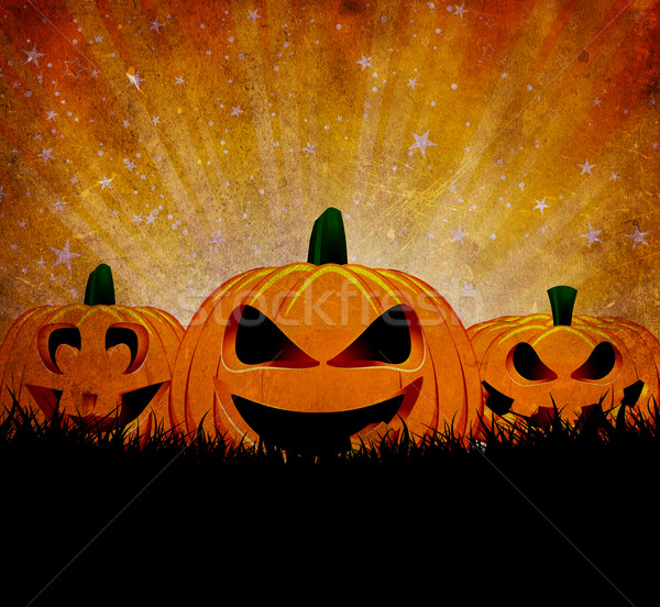 Grunge halloween sylwetka Zdjęcia stock © kjpargeter