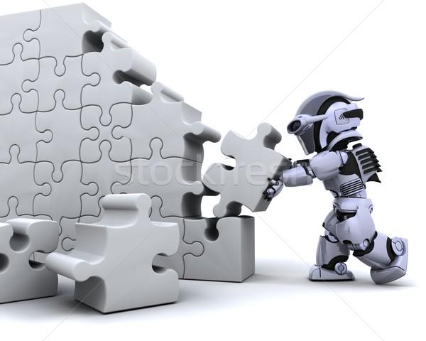 Foto stock: Robô · 3d · render · negócio · futuro · branco