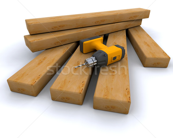 power drill and wood Stock photo © kjpargeter