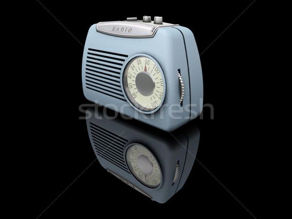 Stockfoto: Retro · radio · 3d · render · zwarte · antieke · elektronische