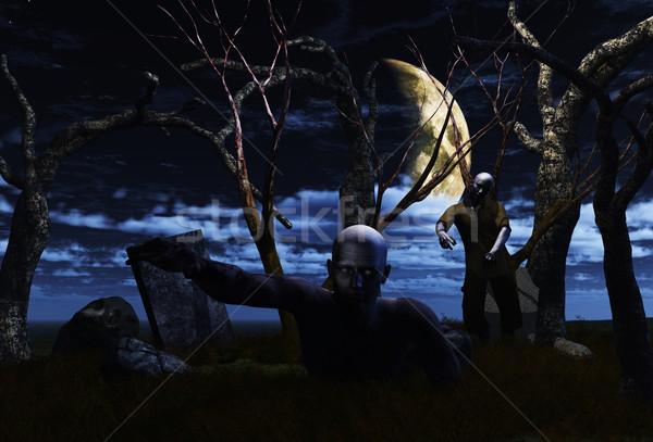 3D zombie landscape ideal for Halloween Stock photo © kjpargeter