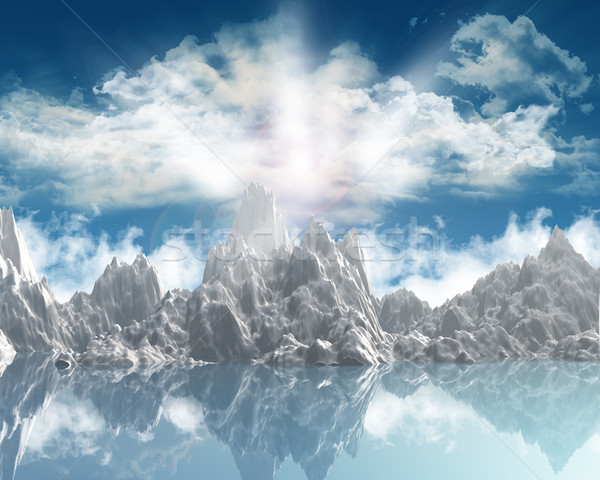 3d render montanha alcance ensolarado céu lago Foto stock © kjpargeter
