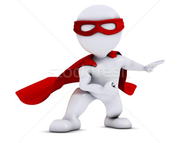 3D 男 スーパーヒーロー 3dのレンダリング マスク フライ ストックフォト © kjpargeter