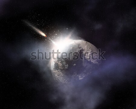Space background with comet flying towards fictional planet Stock photo © kjpargeter