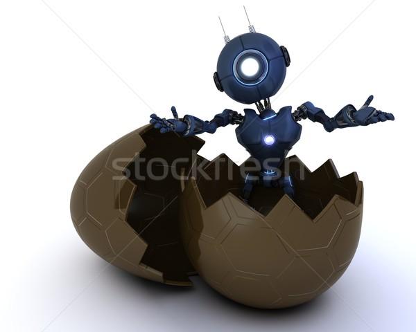 Android húsvéti tojás 3d render húsvét Stock fotó © kjpargeter