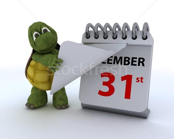 черепаха календаря 3d визуализации океана оболочки среде Сток-фото © kjpargeter