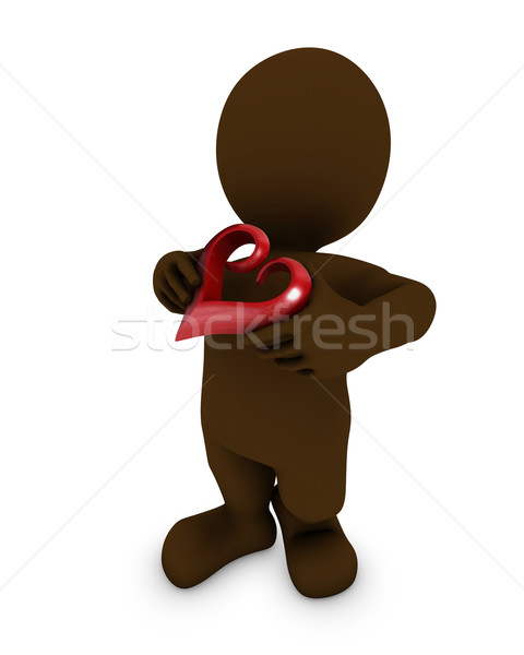 Morph man with heart Stock photo © kjpargeter