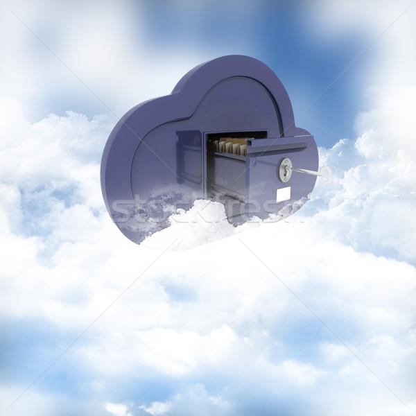 Online opslag wolken 3d render hemel achtergrond Stockfoto © kjpargeter
