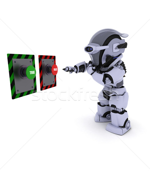Robot deciding which button to push Stock photo © kjpargeter