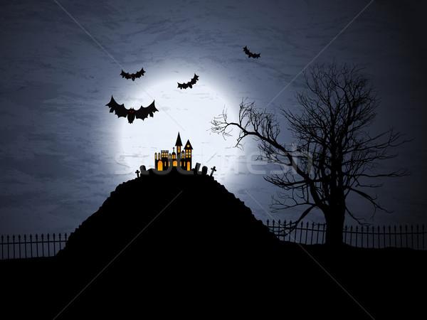 Halloween assustador casa árvore atravessar lua Foto stock © kjpargeter