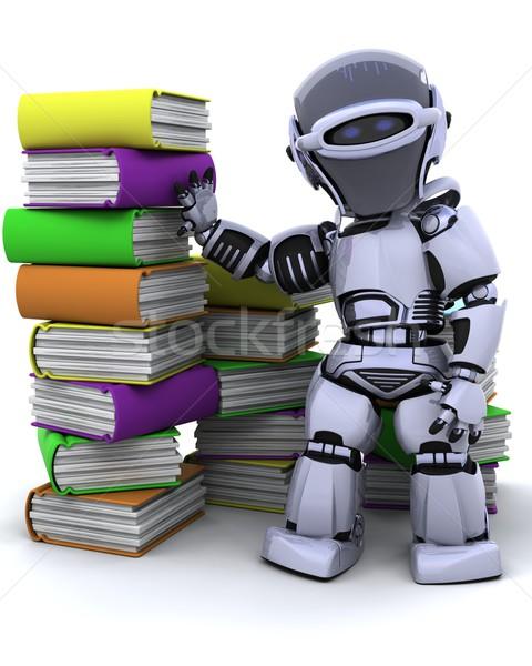 Robot kitaplar 3d render kitap çalışma kütüphane Stok fotoğraf © kjpargeter