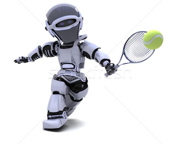 робота играет теннис 3d визуализации человека спорт Сток-фото © kjpargeter