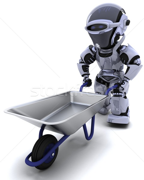 robot with a wheel barrow Stock photo © kjpargeter