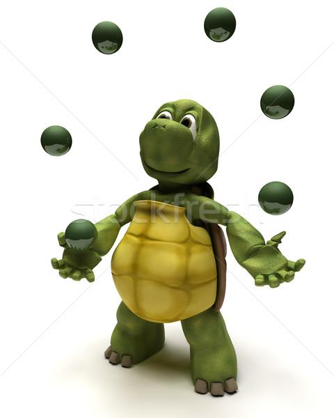черепаха жонглирование 3d визуализации бизнеса океана Сток-фото © kjpargeter