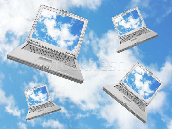 Falling laptops Stock photo © kjpargeter