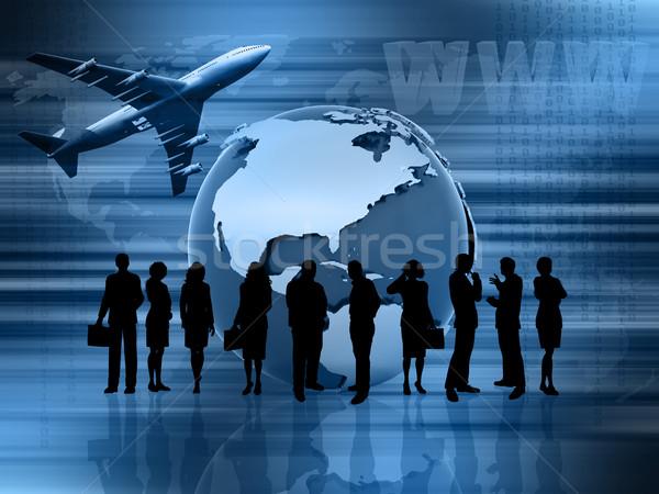 Stockfoto: Wereldwijde · business · afbeelding · tonen · vrouw · wereldbol · kaart