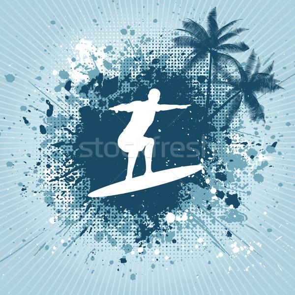 Drawing Lines Surf Movie : Surf · silueta surfista palma árboles fondo