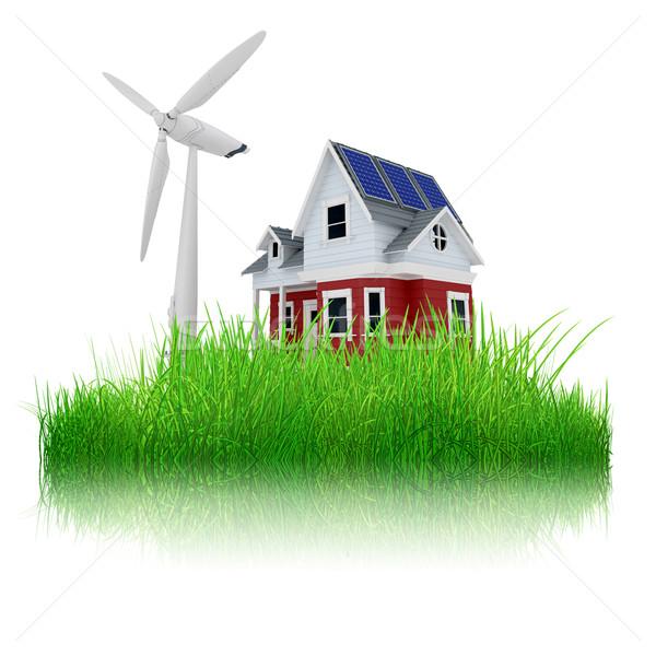 3D maison éolienne herbe rendu 3d Photo stock © kjpargeter