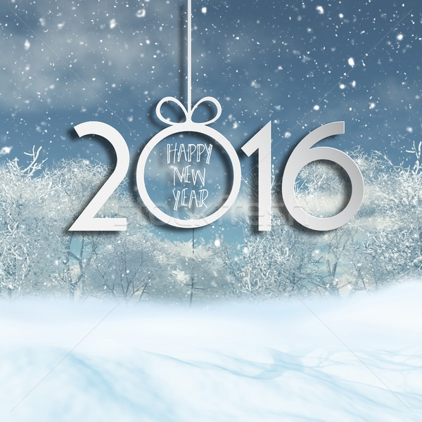 Happy New Year background with 3D snowy landscape  Stock photo © kjpargeter