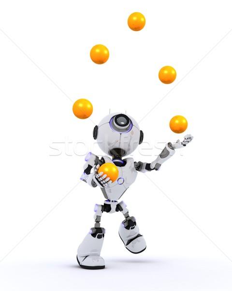 Robô malabarismo 3d render homem bola Foto stock © kjpargeter