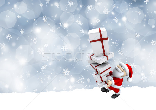 Santa Claus carrying a stack of Christmas gifts Stock photo © kjpargeter