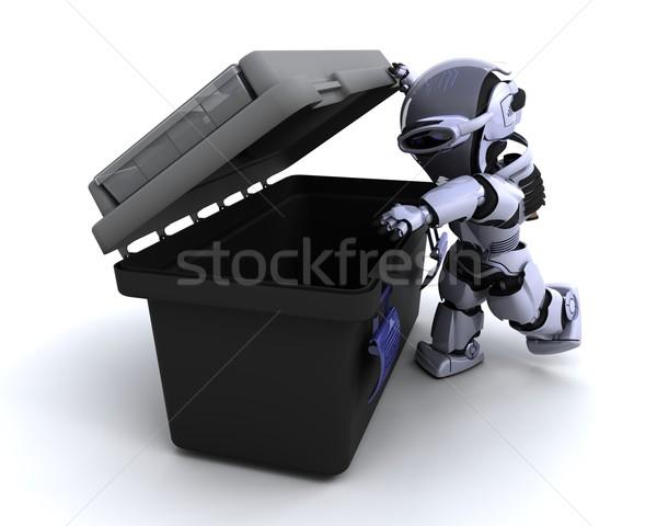 Robot szerszámosláda 3d render építkezés doboz jövő Stock fotó © kjpargeter