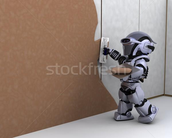 Robot gebouw gipsplaten 3d render werk Stockfoto © kjpargeter