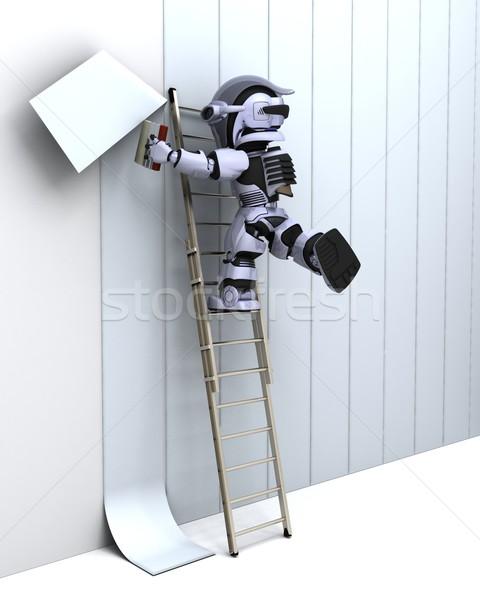 Stockfoto: Robot · muur · 3d · render · verf · interieur · toekomst