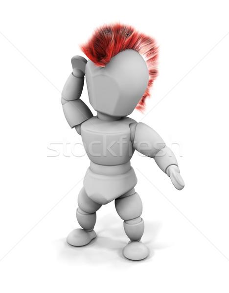 панк 3d визуализации рокер женщину волос мужчины Сток-фото © kjpargeter