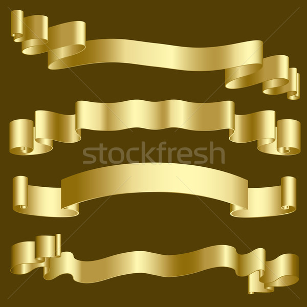 Gold ribbons and banners Stock photo © kjpargeter