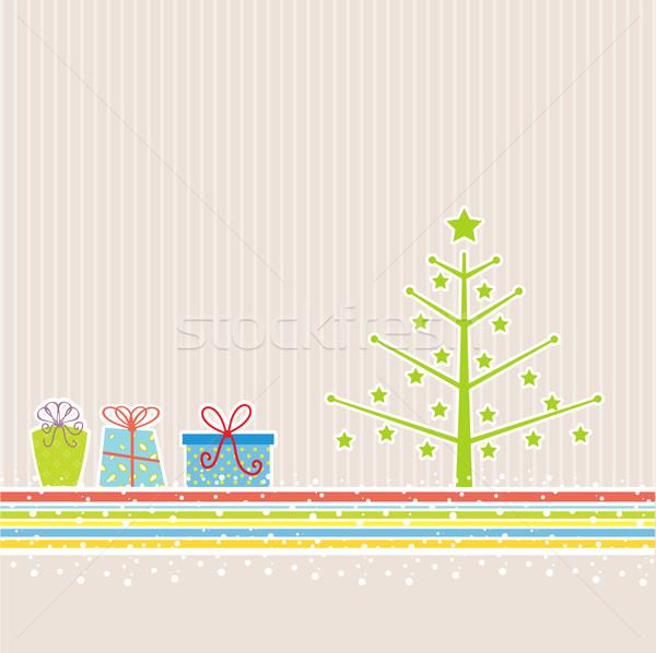 Retro christmas kerstboom geschenken geschenk aanwezig Stockfoto © kjpargeter