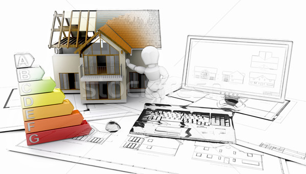3D house and computer with plans - some in sketch phase Stock photo © kjpargeter