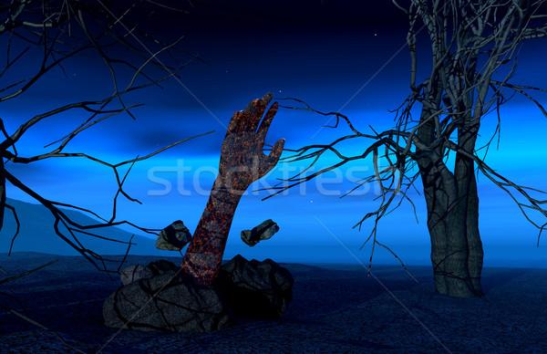 Хэллоуин зомби стороны 3d визуализации из землю Сток-фото © kjpargeter