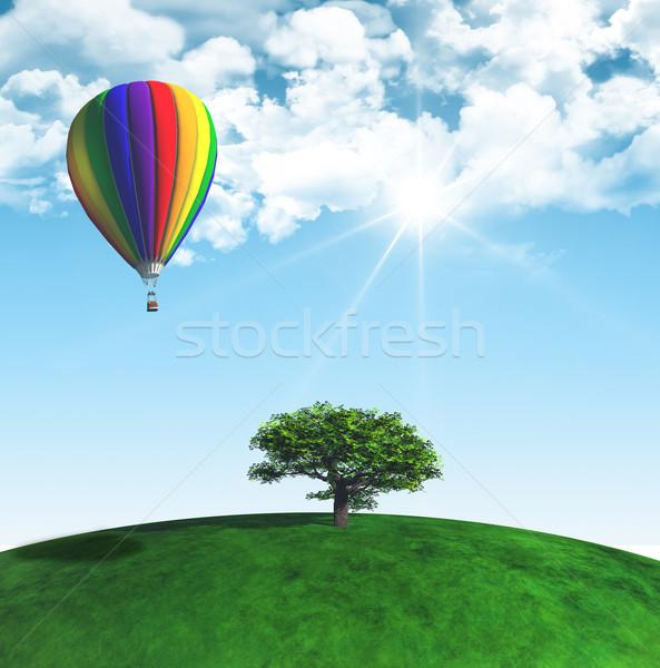 3D tájkép fa hőlégballon napos kék ég Stock fotó © kjpargeter