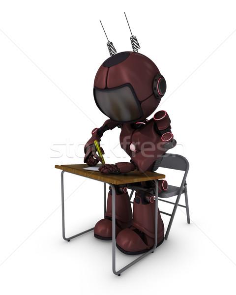 Android okul büro 3d render çalışmak öğrenci Stok fotoğraf © kjpargeter