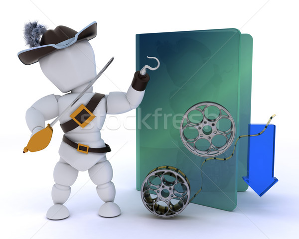 pirate depicting illegal video downloads Stock photo © kjpargeter