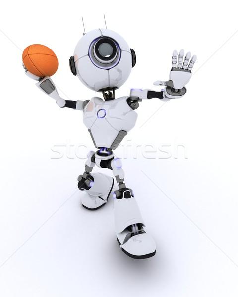 робота играет американский футбола 3d визуализации Сток-фото © kjpargeter