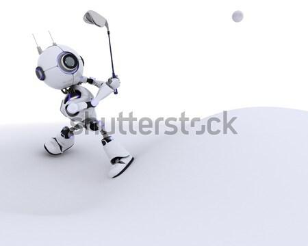 Robot giocare rendering 3d uomo sport Foto d'archivio © kjpargeter