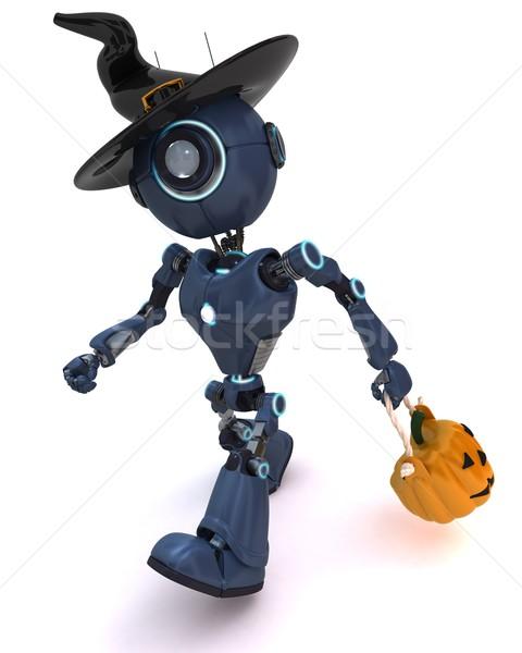 Android wakacje 3d robot jesienią Zdjęcia stock © kjpargeter