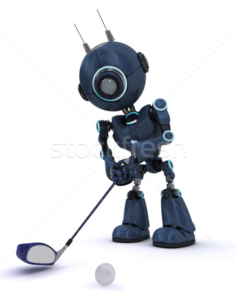 Android playing golf Stock photo © kjpargeter
