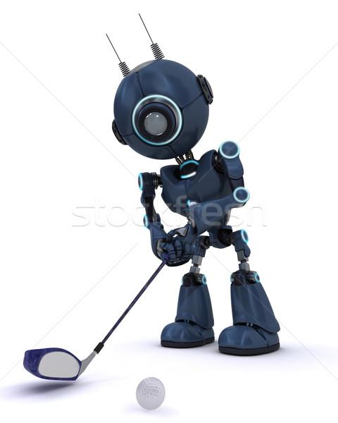Android oynama golf 3d render kulüp top Stok fotoğraf © kjpargeter