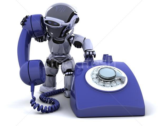 Foto stock: Robô · tradicional · telefone · 3d · render · comunicação · futuro