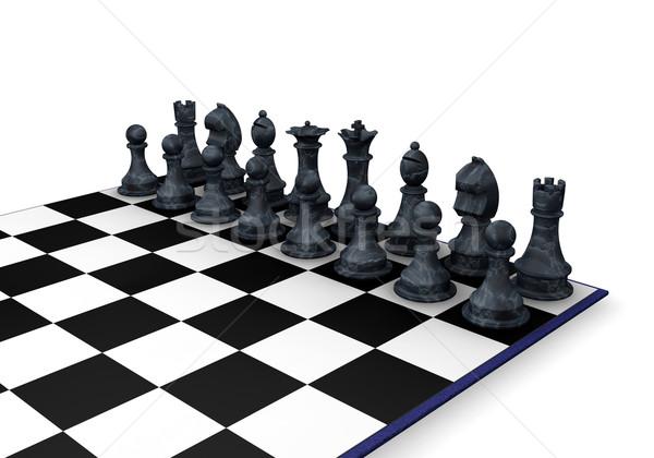 Foto stock: Peças · de · xadrez · 3d · render · fundo · xadrez · castelo · lutar