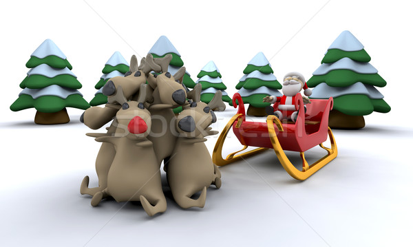 Santa and his reindeer Stock photo © kjpargeter