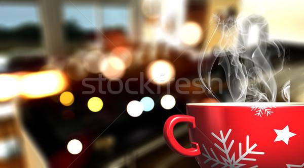 3D Christmas mug on defocussed cafe bar background Stock photo © kjpargeter