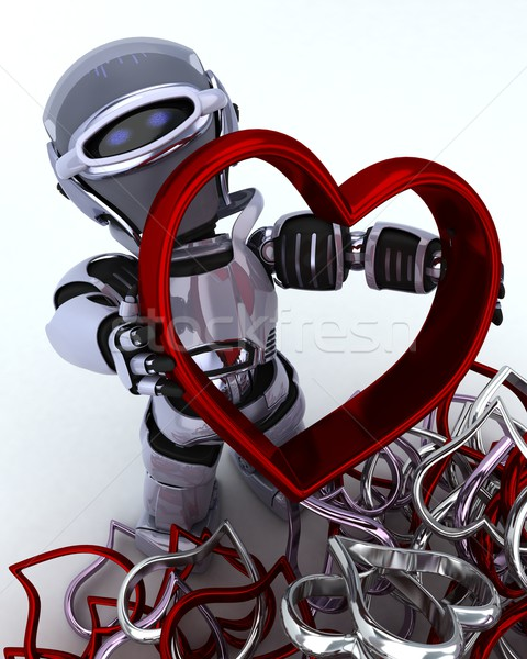 Robot with heart charm Stock photo © kjpargeter
